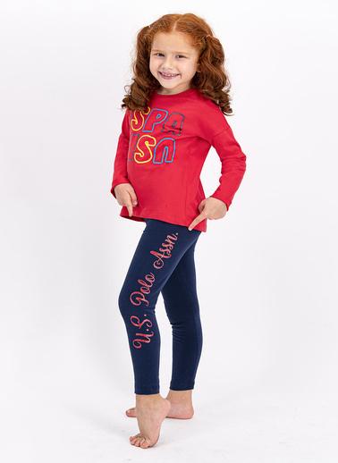 U.S. Polo Assn. Lisanslı Açık Kırmızı Kız Çocuk Tayt Takım Kırmızı